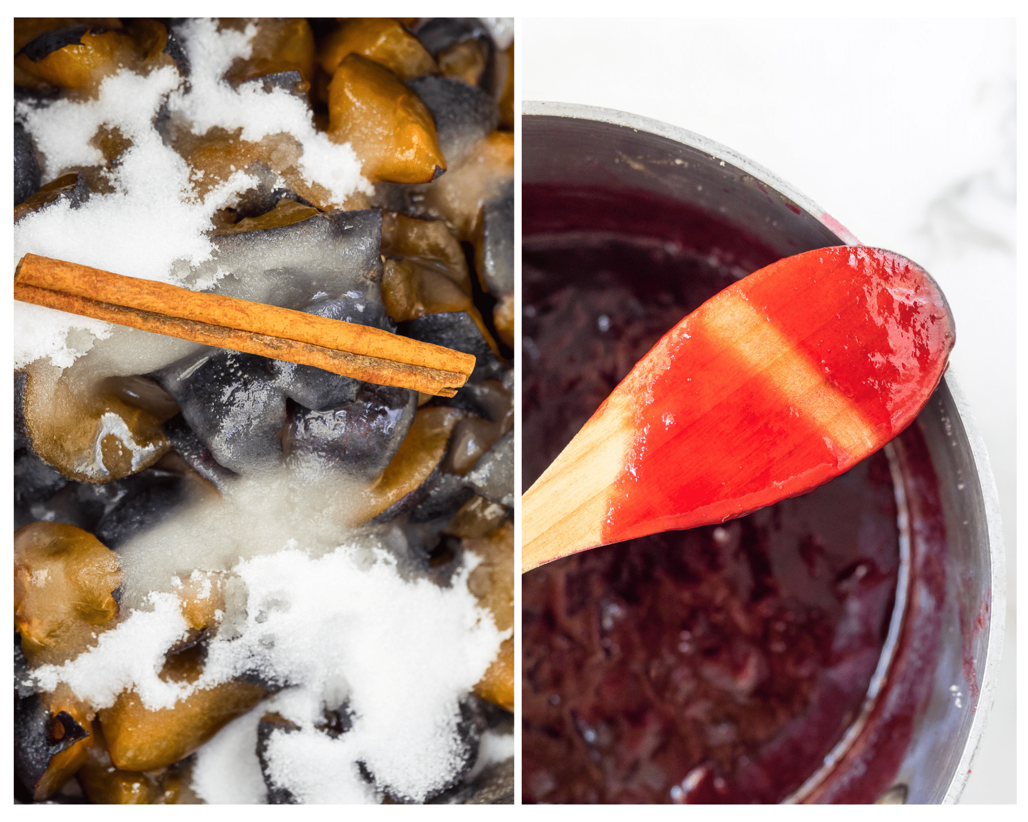 Two pictures showing the process of making plum jam.