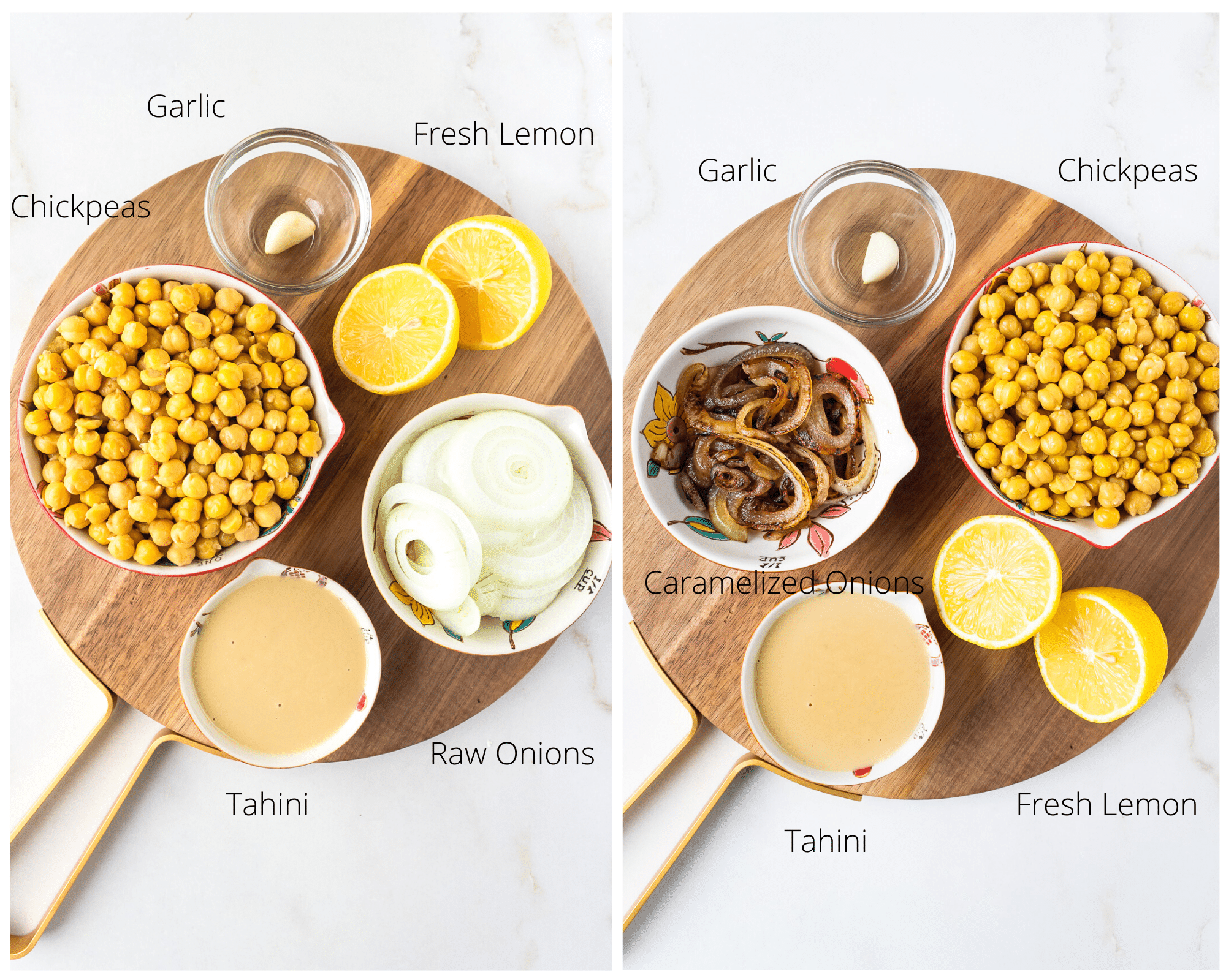 Ingredients needed for Caramelized Onion Hummus.