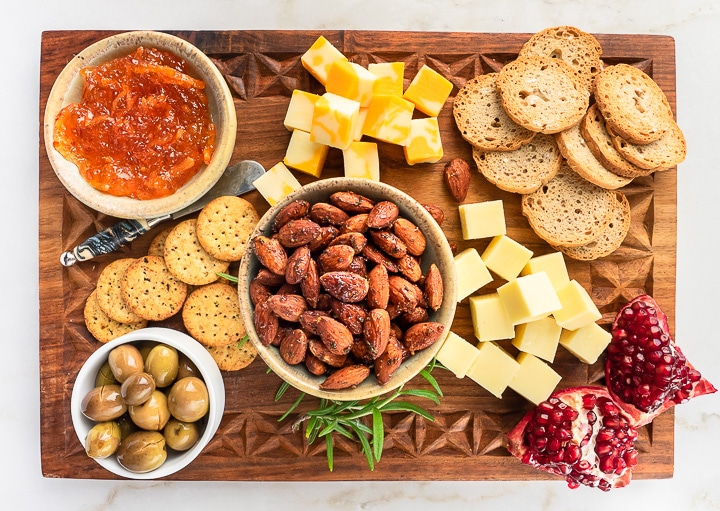 Snack board with Rosemary Almonds and other nibbles.