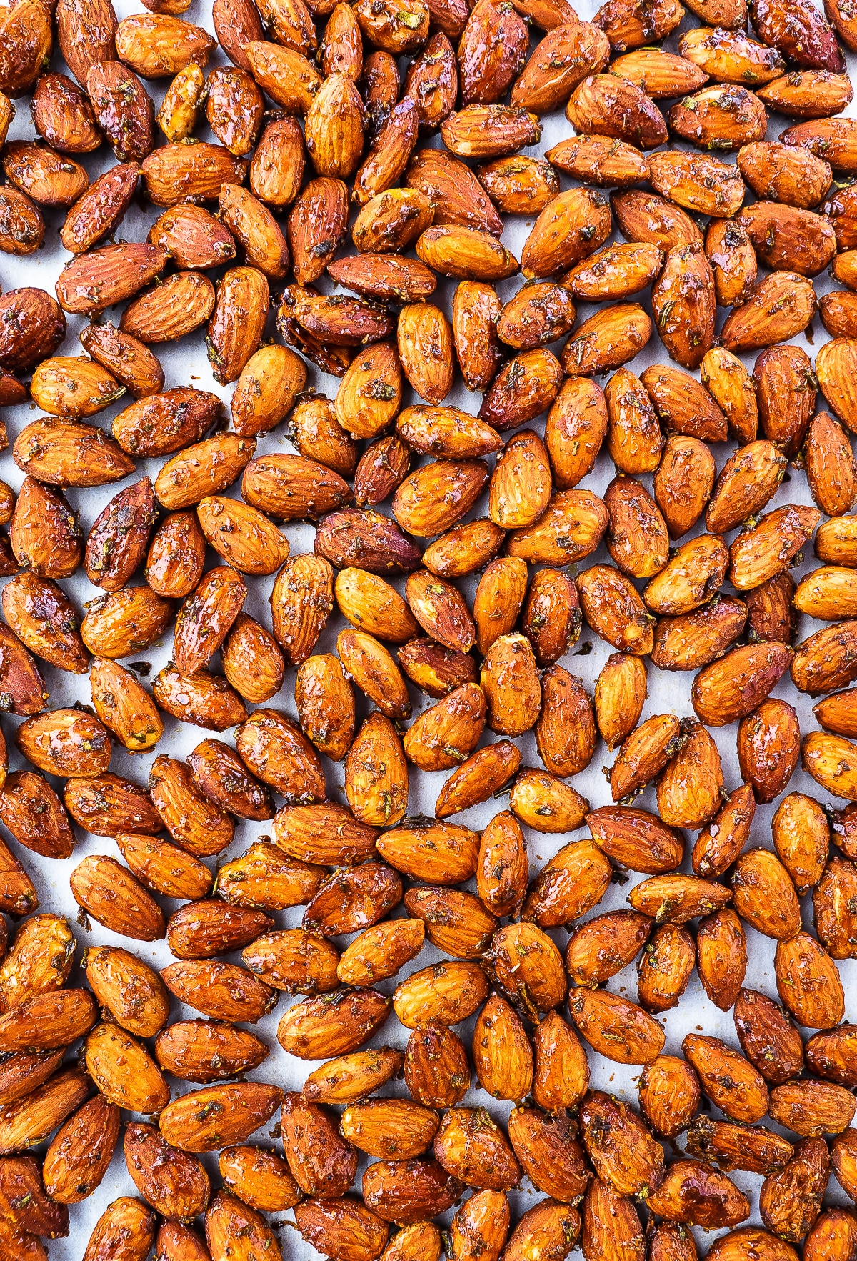 Tray of freshly roasted almonds.