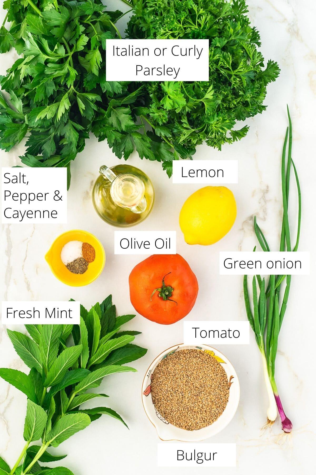 Ingredients for Tabbouleh salad.