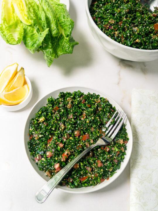 Bowl of Tabbouleh salad.