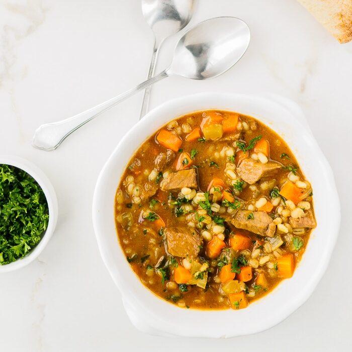 Bowl of beef barley soup.